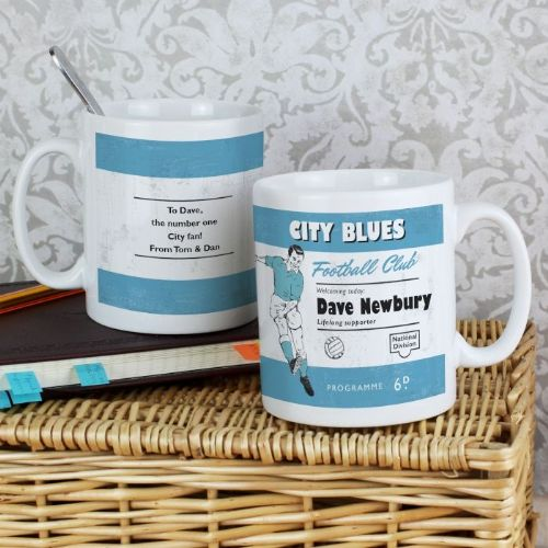 Personalised Vintage Sky Blue and White Football Supporter's Mug